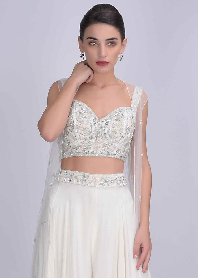 Tanya Sharma in Kalki Pearl White Palazzo In Crepe With Embellished Net Crop Top And Jacket