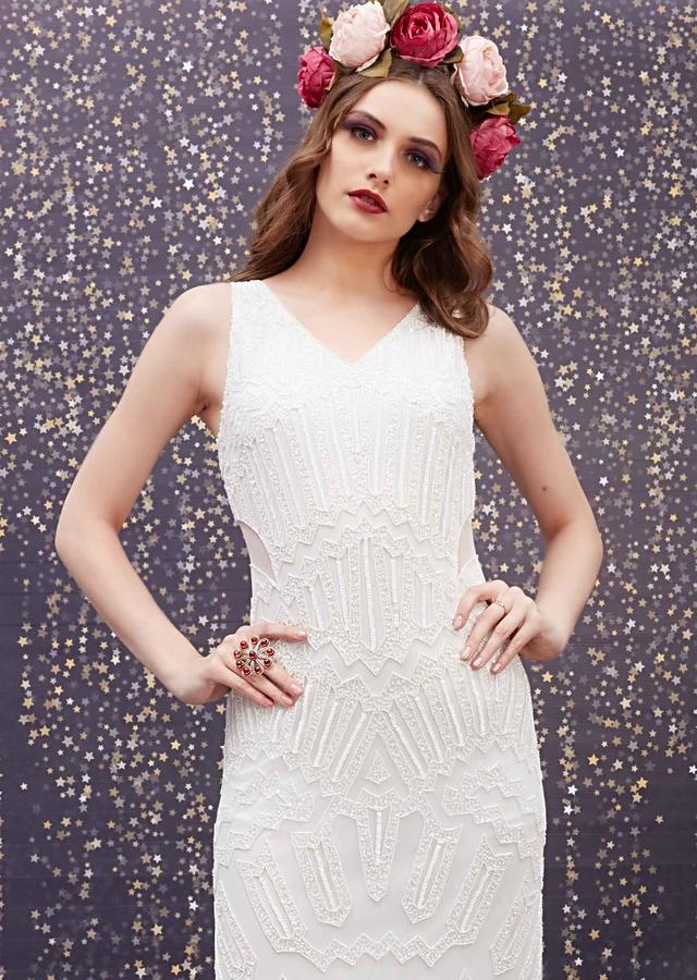 Pearl White Fish Cut Gown With Embellished Geometric Pattern And Sheer Waist Cut Out Online - Kalki Fashion