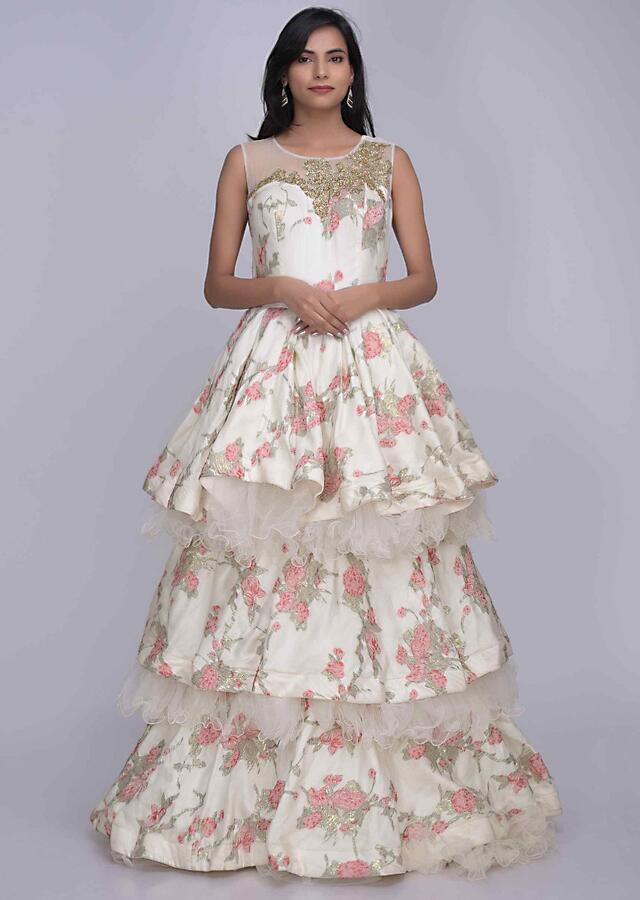 Pearl White Layered Gown In Cotton With Weaved Floral Pattern Online - Kalki Fashion