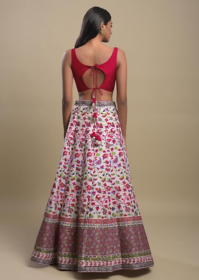Pearl White Lehenga In Brocade With Colorful Weaved Floral Jaal Online - Kalki Fashion