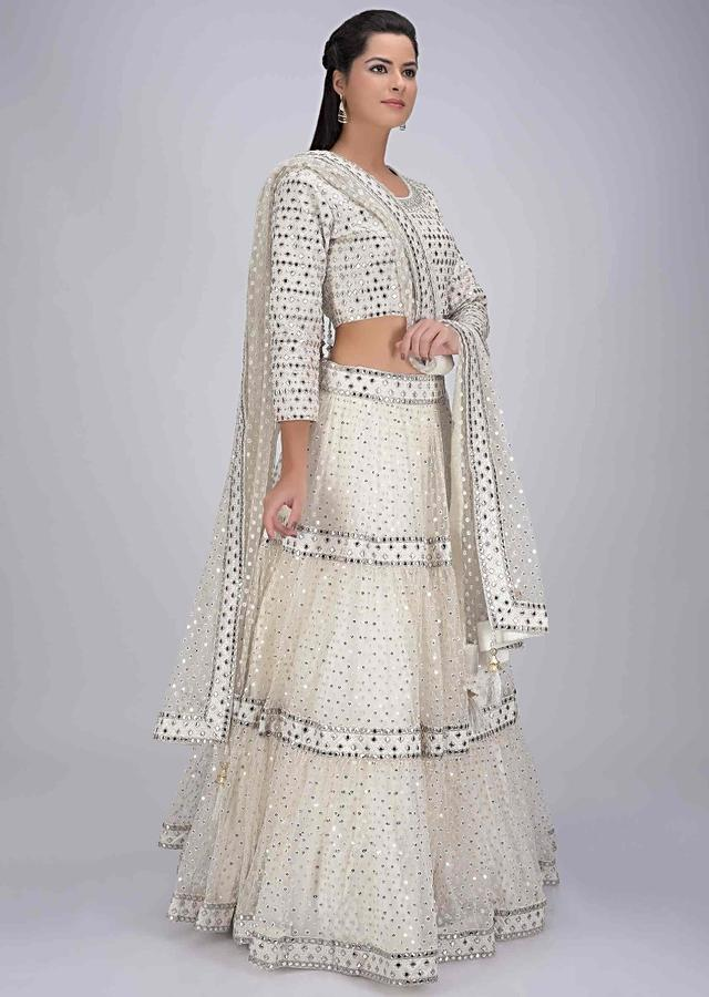 Pearl White Tiered Lehenga Set In Net With Abla Embroidery Online - Kalki Fashion