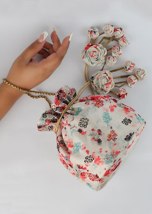 Pearl White Potli Bag With Multi Colored Water Color Print And Cut Dana Work By Vareli Bafna