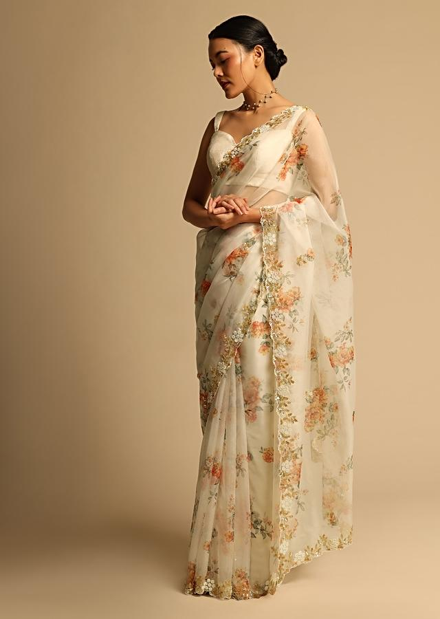 Pearl White Saree In Organza With Floral Print All Over And Moti Embroidered Border Along With Unstitched Blouse Online - Kalki Fashion