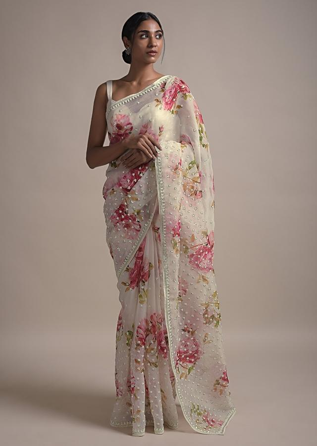 Pearl White Saree In Organza With Floral Print Along With Sequins And Pearls In Gradient Floral Pattern Online - Kalki Fashion