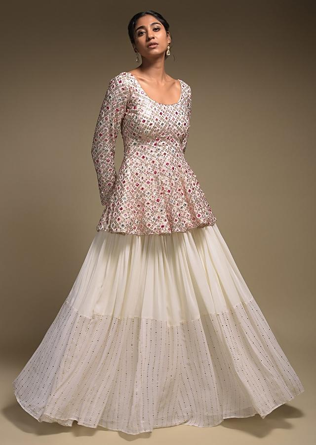Pearl White Skirt And Peplum Top With Colorful Resham And Abla Embroidery Online - Kalki Fashion