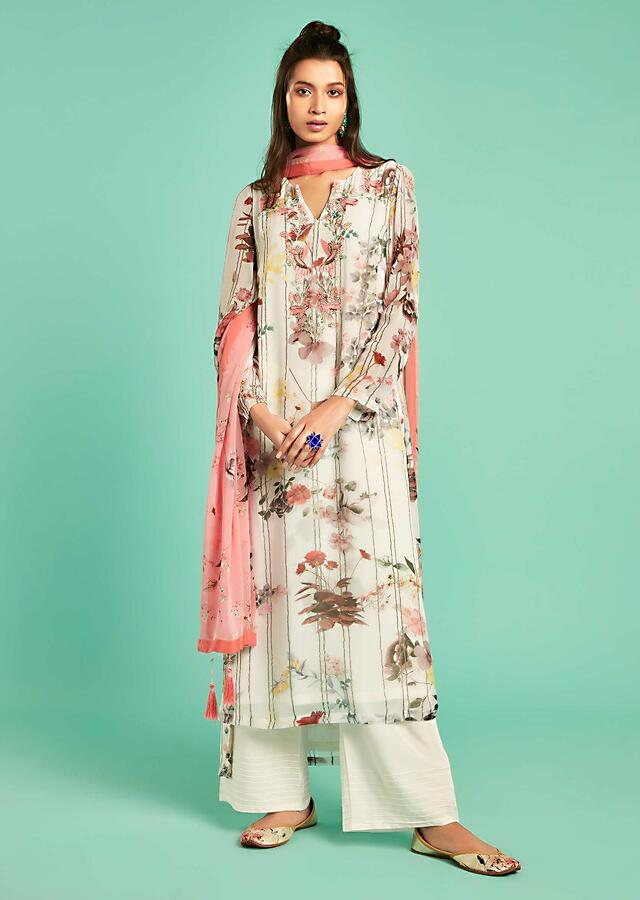 Pearl White Straight Cut Suit With Floral Print And Embroidered With Thread And Sequins