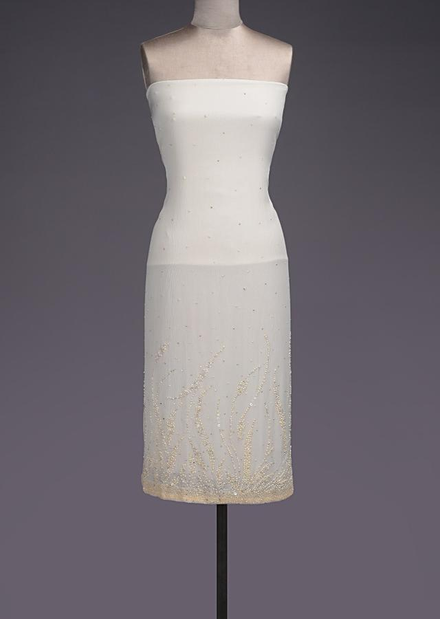 Pearl White Unstitched Suit With Pearls, Sequins And Beads Work On The Hemline Online - Kalki Fashion