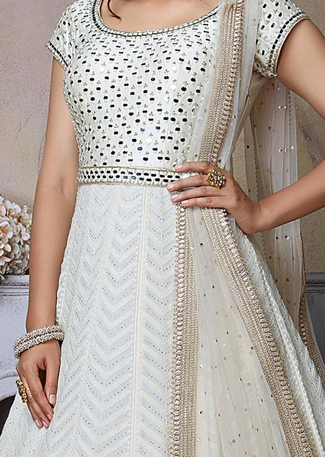 Pearl White Anarkali Suit With Lucknowi And Abla Embroidery Online - Kalki Fashion