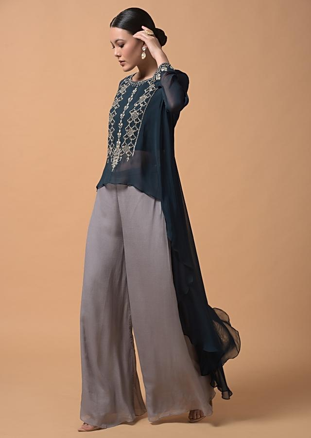 Persian Blue A Line Palazzo Suit With High Low Hemline And Zari Embroidered Floral Design On The Bodice Online - Kalki Fashion