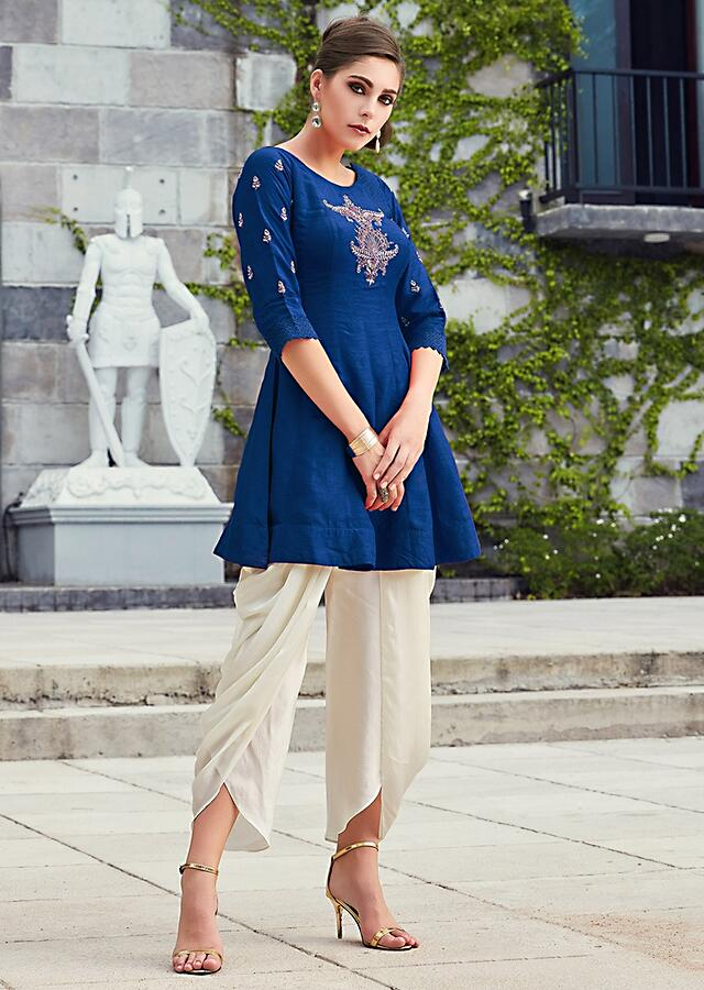 Persian Blue Knee Length Top In Embroidered Butti Matched With Dhoti Pants Online - Kalki Fashion