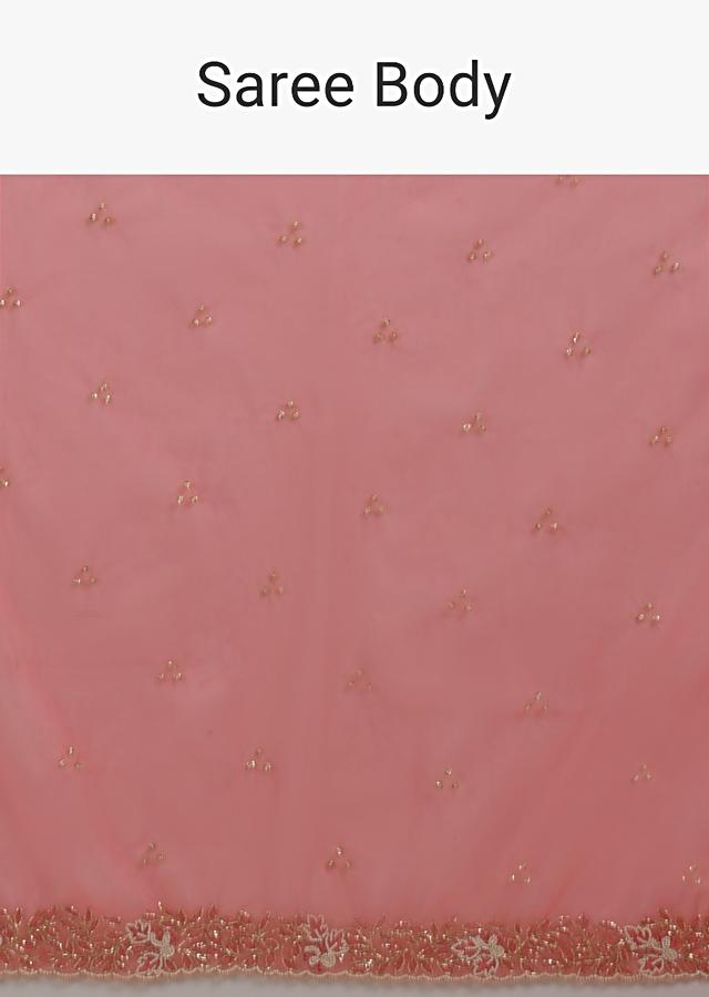 Persian Pink Saree In Organza With Hand Embroidered Floral Floral Border And Scattered Buttis Online - Kalki Fashion