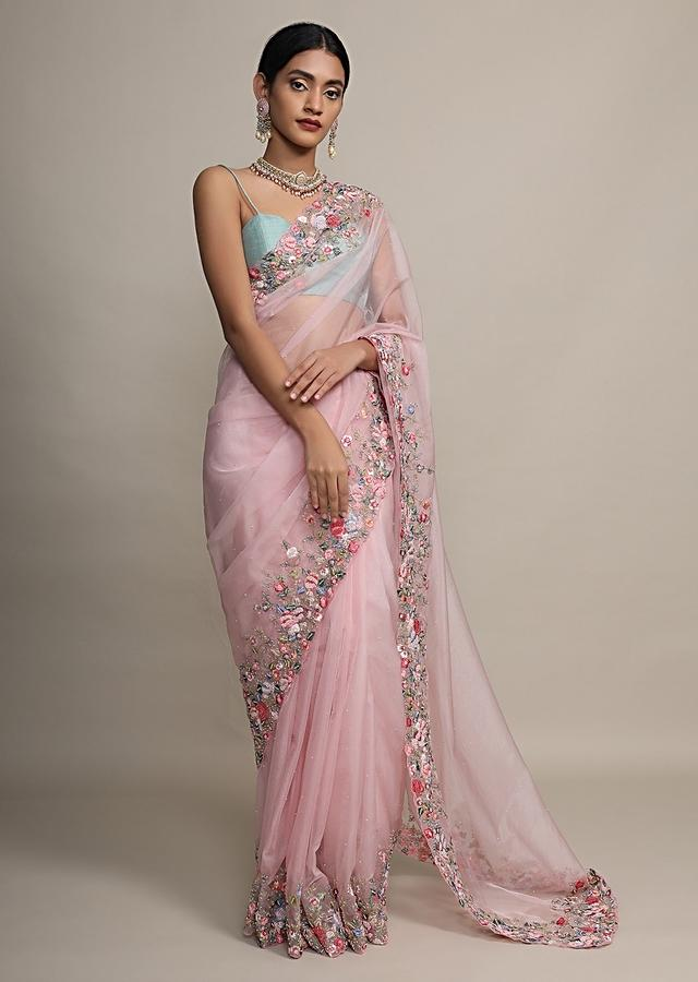 Petal Pink Saree In Organza With Resham Embroidered Floral Design On The Border Online - Kalki Fashion