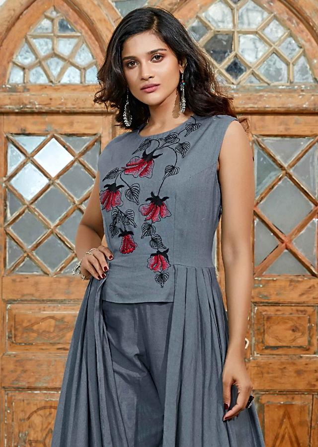 Pewter Grey Long Cotton Top With Front Cut Paired With Matching Cotton Pant Online - Kalki Fashion