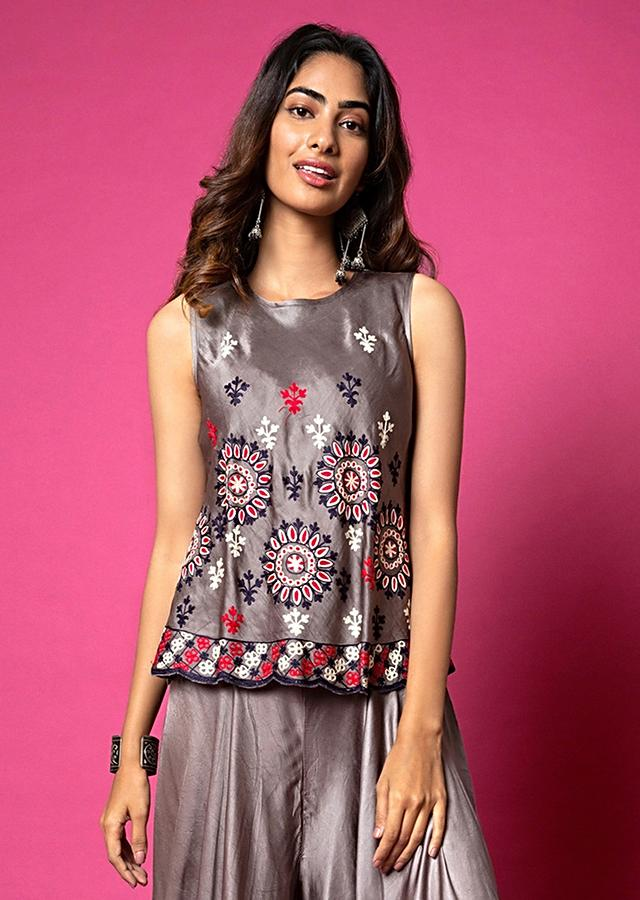 Pewter Grey Top And Waterfall Palazzo Pants Set Adorned In Aari Embroidery Online - Kalki Fashion