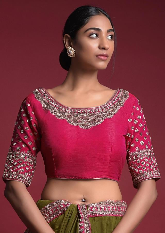 Pickle Green Saree In Cotton Silk With Embroidered Buttis And Contrasting Pink Blouse Online - Kalki Fashion