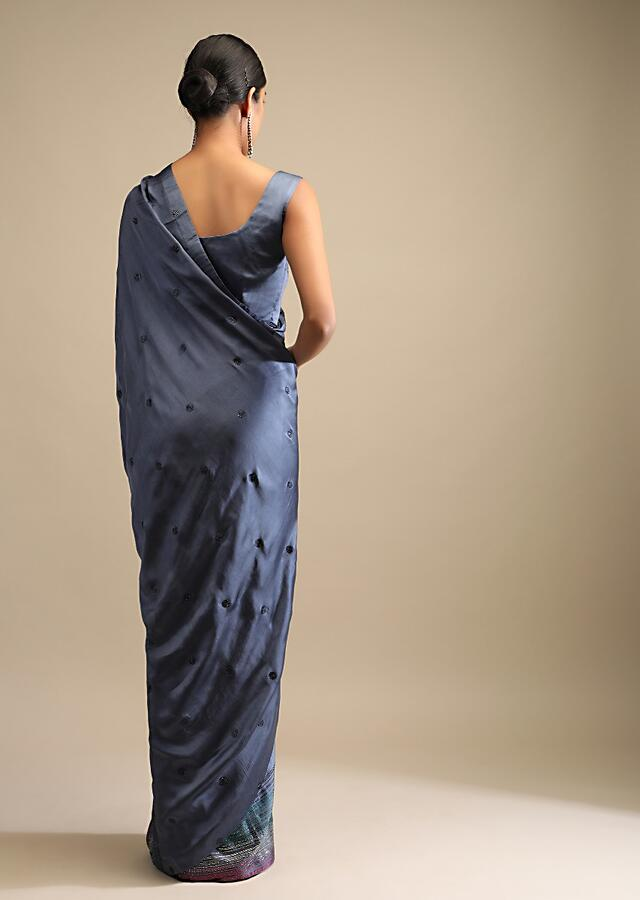 Pigeon Blue Saree In Satin Embellished With Multi Colored Kundan Work On The Border And Butti Work Online - Kalki Fashion