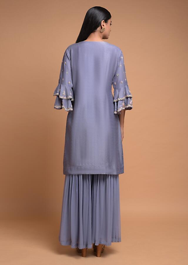 Pigeon Blue Sharara Suit In Raw Silk With Ruffle Cuffs And Floral Embroidery Online - Kalki Fashion