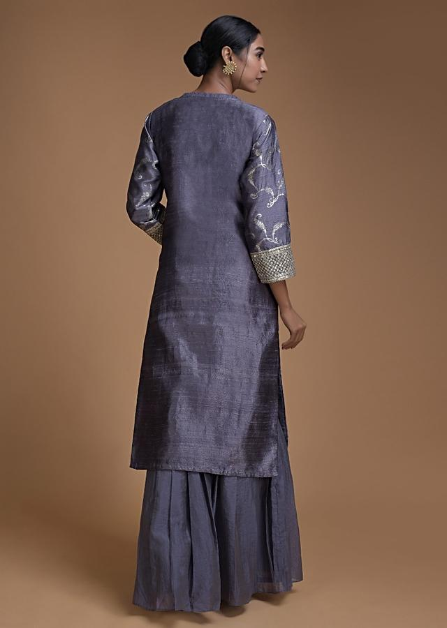 Pigeon Blue Sharara Suit With Weaved Jaal And Pleated Frill Online - Kalki Fashion