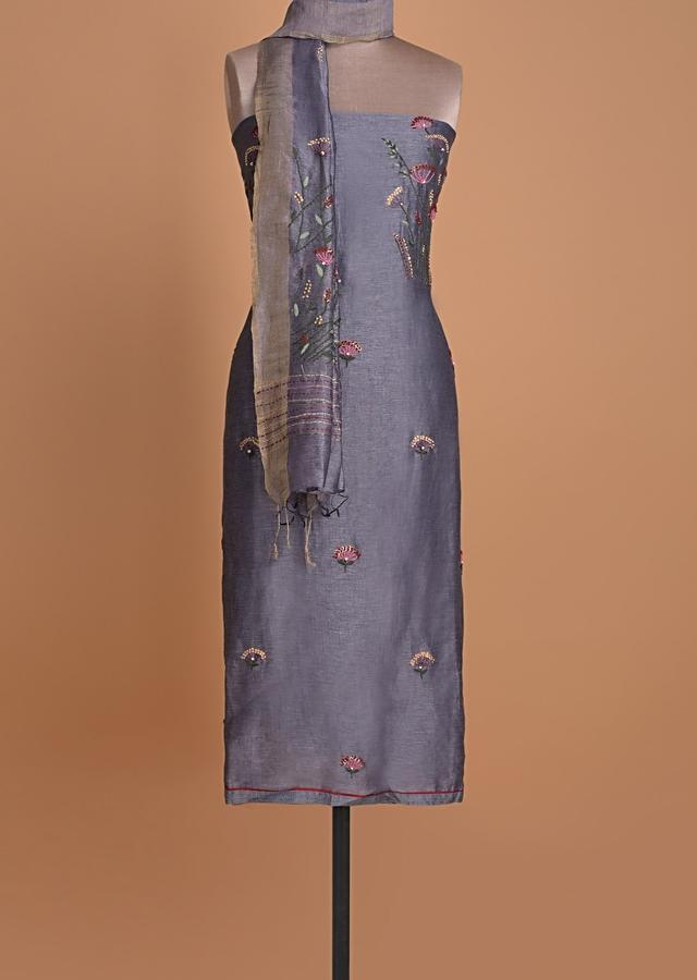 Pigeon Blue Unstitched Suit In Tussar Silk With Thread Embroidery Online - Kalki Fashion