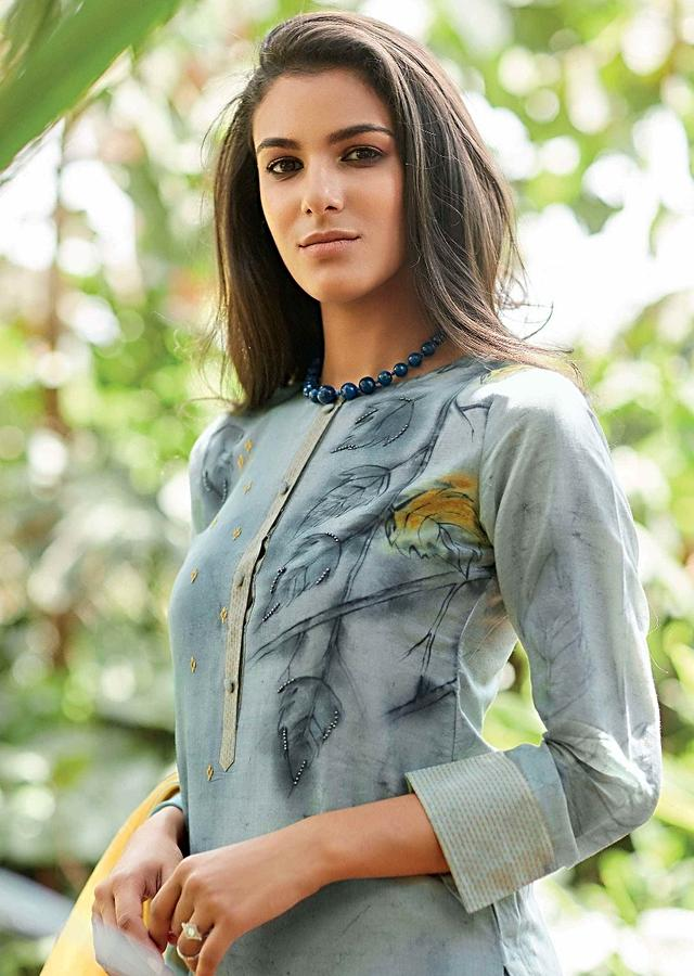 Pigeon Grey Unstitched Cotton Suit Set With Leaf Print And Embroidery Online - Kalki Fashion