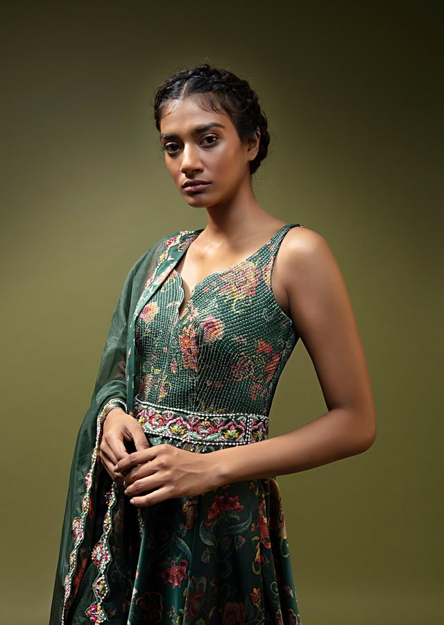 Pine Green Anarkali Suit In Satin With Floral Print And An Embroidered Belt At The Waist  Online - Kalki Fashion