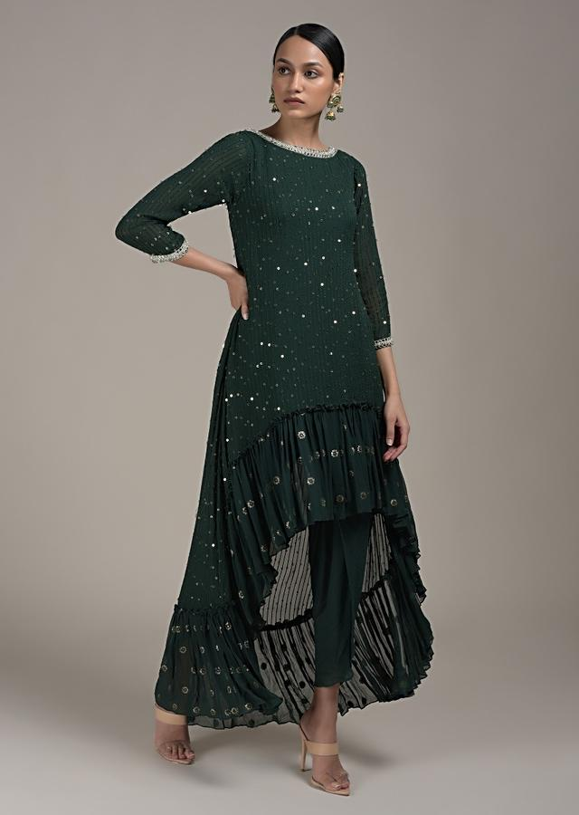 Pine Green Dhoti Suit With Flared Frill Kurti Embroidered Using Sequins And Thread In Striped Design Online - Kalki Fashion