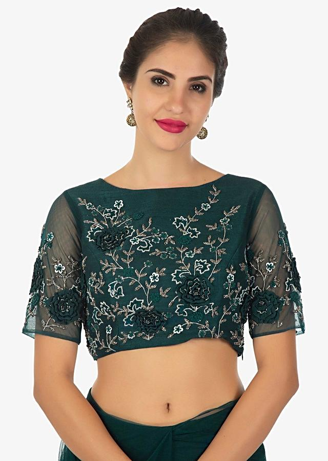 Pine Green Saree With Pre - Stitched Frill And Blouse In 3 D Flower Online - Kalki Fashion