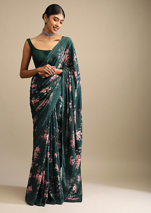 Pine Green Saree In Crepe With Floral Print All Over And Multi Colored Kundan Accents Along The Border Online - Kalki Fashion