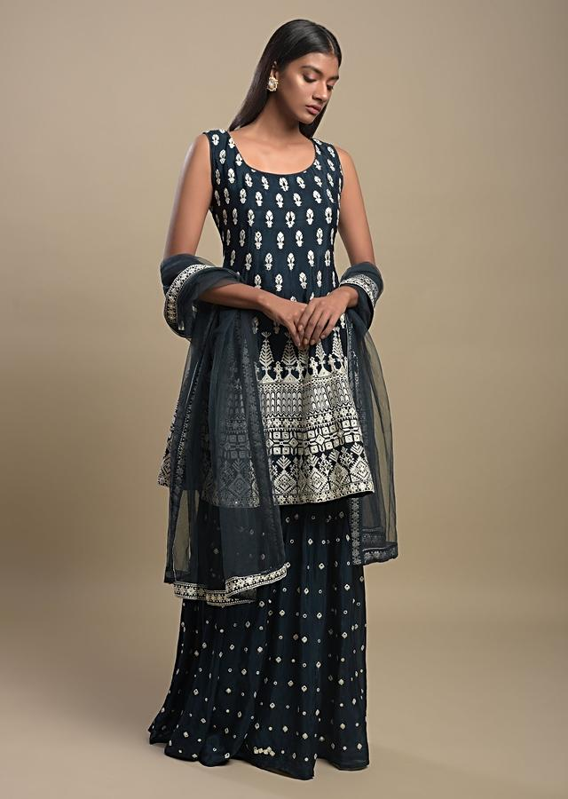 Pine Green Sharara Suit In Crepe With Thread And Abla Work Buttis And Heritage Motifs Online - Kalki Fashion