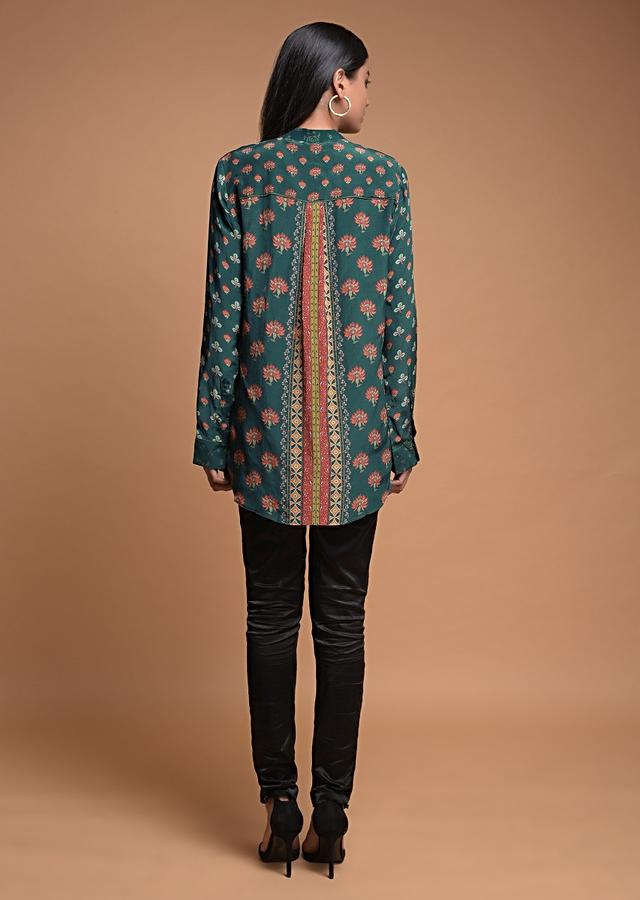 Pine Green Short Kurti In Crepe With Floral And Geometric Print Online - Kalki Fashion