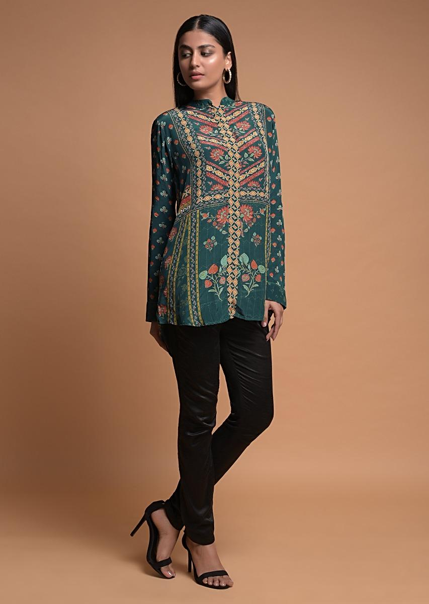 Pine Green Short Kurti In Crepe With Floral And Geometric Print