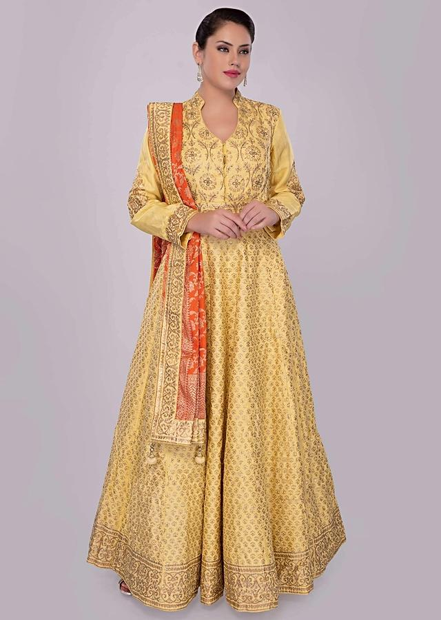 Pine Yellow Anarkali Dress In Silk With Foil Printed Butti Online - Kalki Fashion