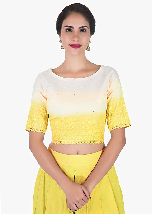 Pine Yellow And White Dhoti Crop Top Adorned In Beautiful Thread Work Online - Kalki Fashion