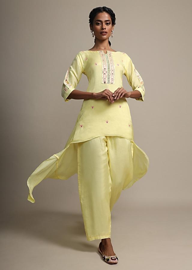 Pine Yellow Front Short Back Long Mirror Embroidered Suit With Matching Pants Online - Kalki Fashion