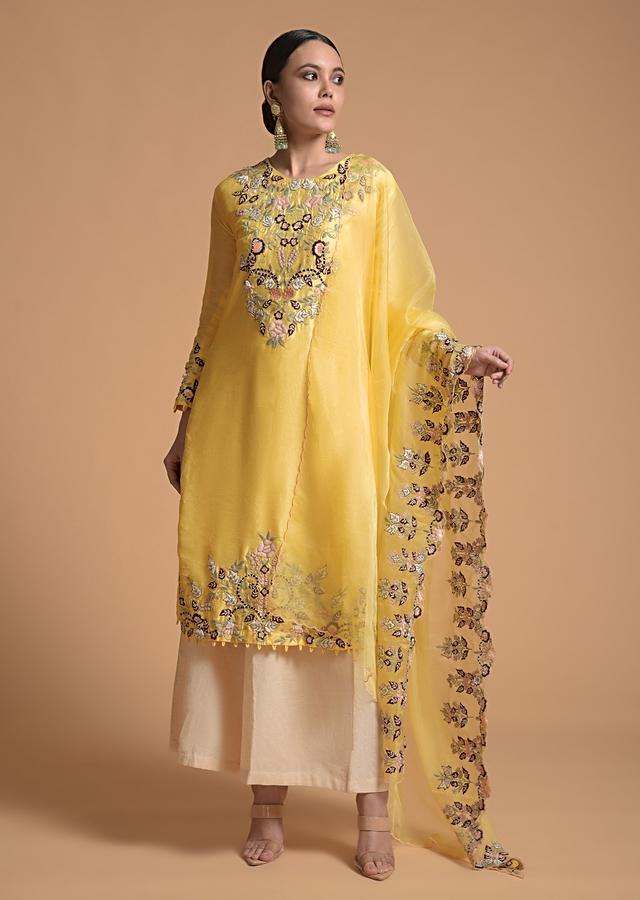 Pine Yellow Kurti In Cotton Silk With Multi Color Thread Embroidered Floral Motifs And Beautiful Organza Dupatta Online - Kalki Fashion