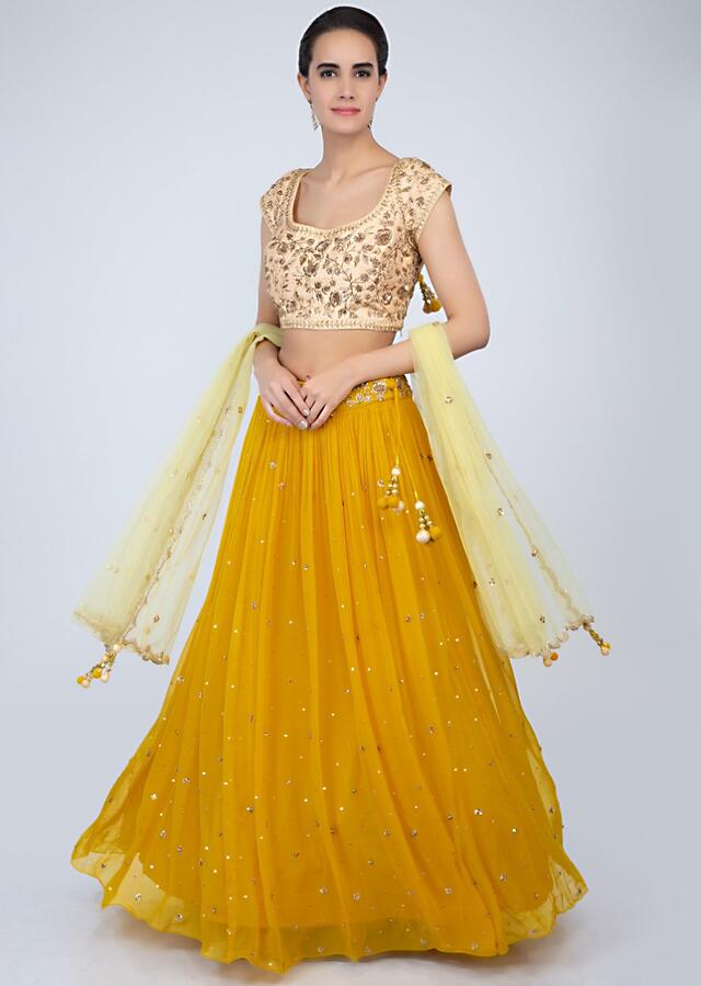 Pine Yellow Lehenga With Embroidered Beige Blouse And Lime Yellow Net Dupatta Online - Kalki Fashion