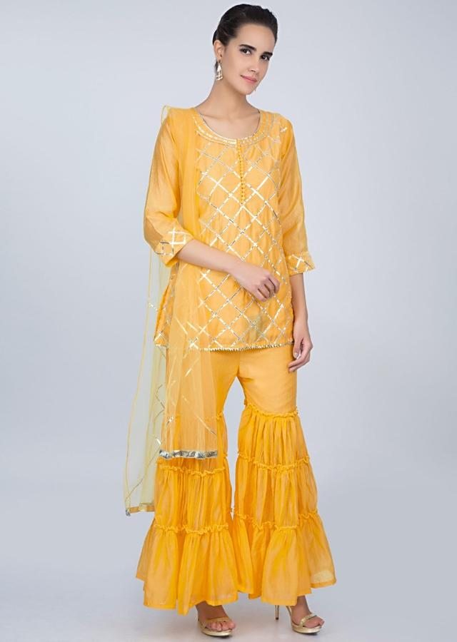 Pine Yellow Sharara Suit Set In Lace Jaal Embroidery Online - Kalki Fashion