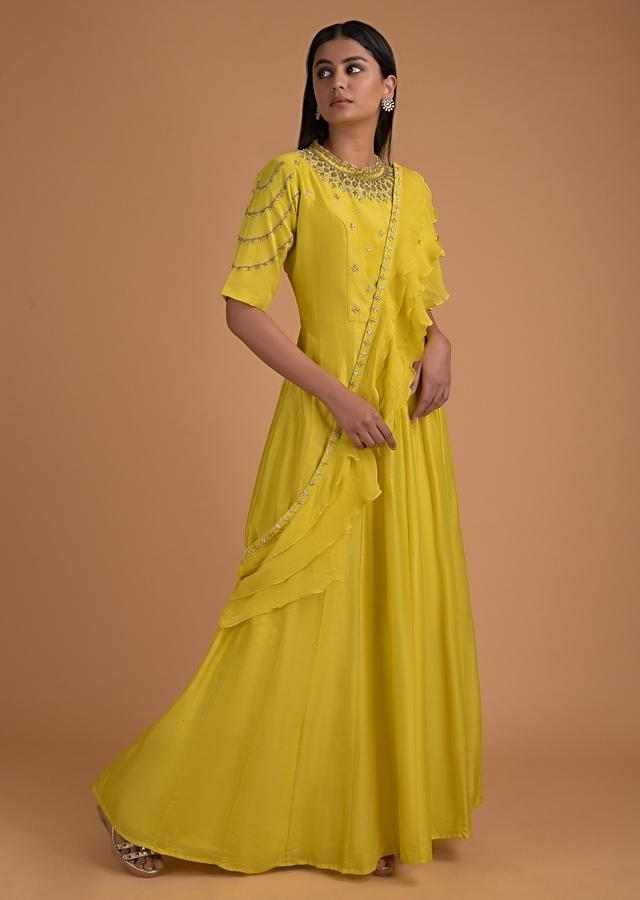 Pineapple Yellow Anarkali Suit With Embroidered Bodice And Ruffle Dupatta Online - Kalki Fashion