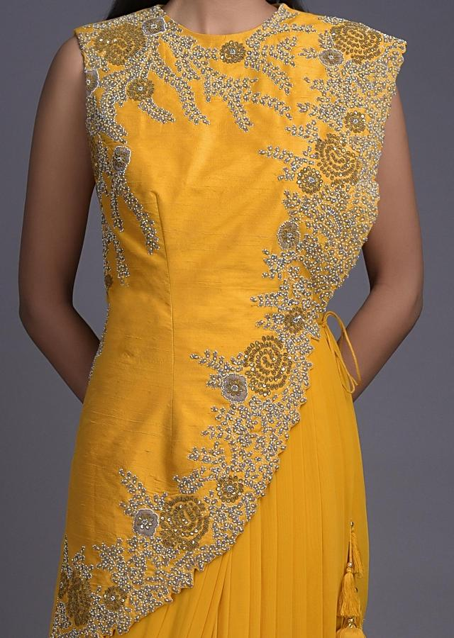 Pineapple Yellow Indowestern Gown With Embroidered Asymmetric Half Jacket Online - Kalki Fashion