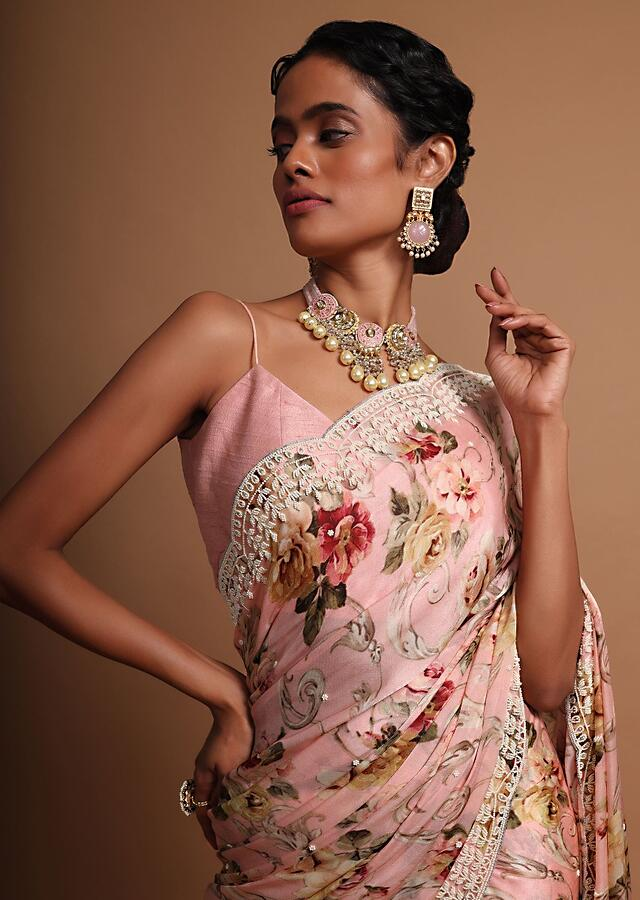 Pink floral printed satin saree with heavy embroidered border Online - Kalki Fashion