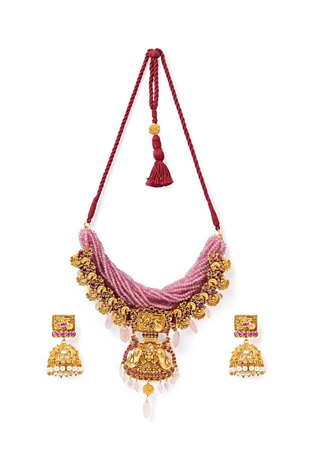 Pink Agate Necklace And Jhumkas Set With Carved Design, Hydro Rubies And Rose Quartz Online - Joules By Radhika
