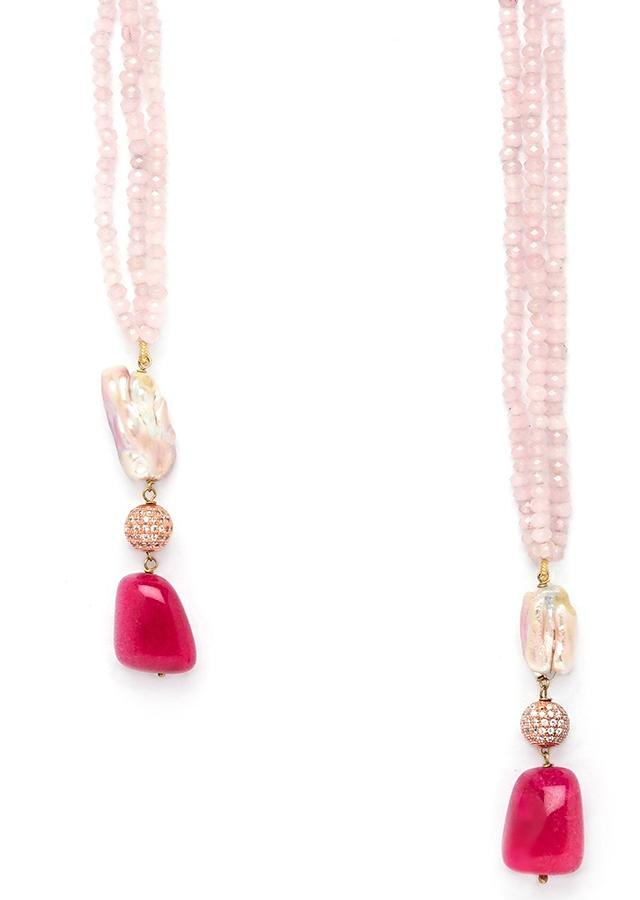 Pink Agate Necklace In A Wrap Around Design With Hydro Ruby Tumbles And Baroque Swarovski Pearls Online - Joules By Radhika