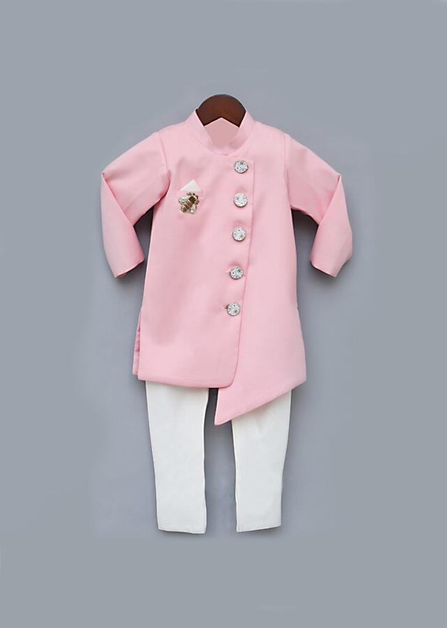 Pink Ajkan And Yellow Pants Set With Asymmetric Hem And Embroidered Patchwork In Bee Motif By Fayon Kids
