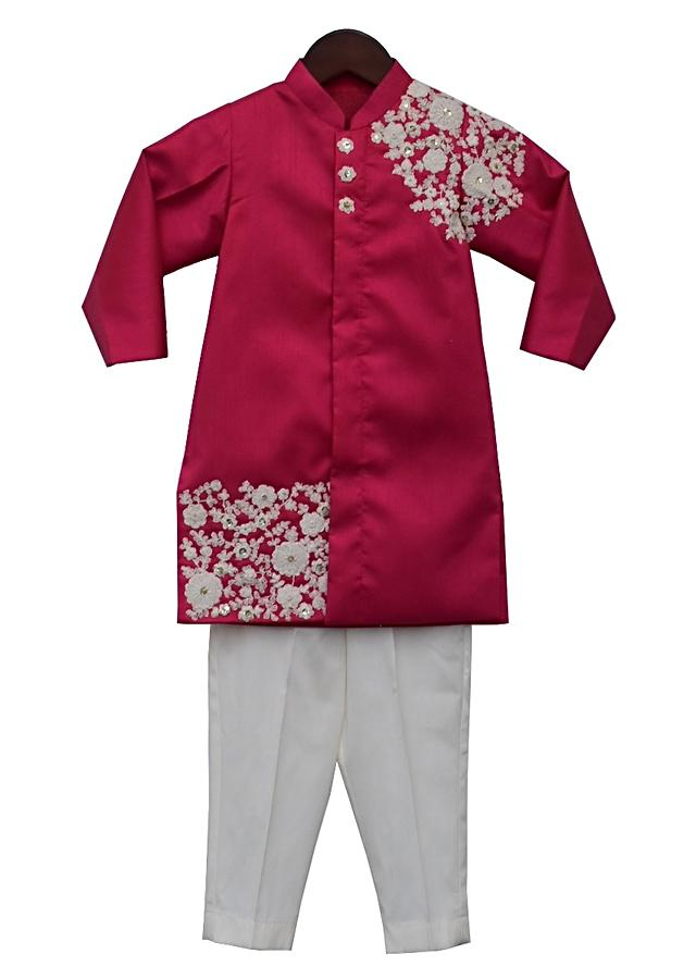 Pink Ajkan With Floral Embroider And White Bottoms By Fayon Kids