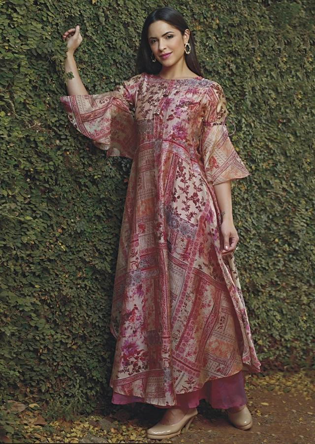 Pink And Beige Tunic Dress With Floral Print And Attached Mauve Under layer Online Kalki Fashion