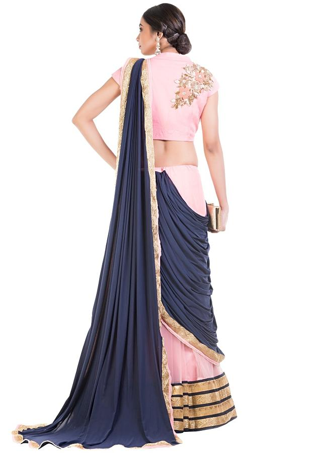 Pink And Blue Drape Lehenga With Attached Dupatta Online - Kalki Fashion