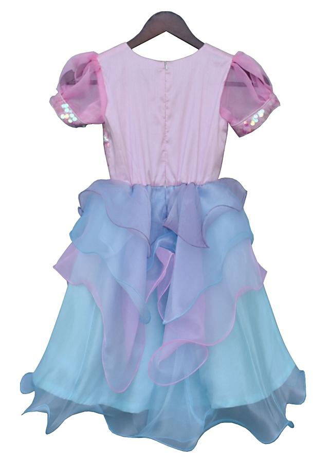 Pink and blue layered dress with sequins embellished bodice By Fayon Kids