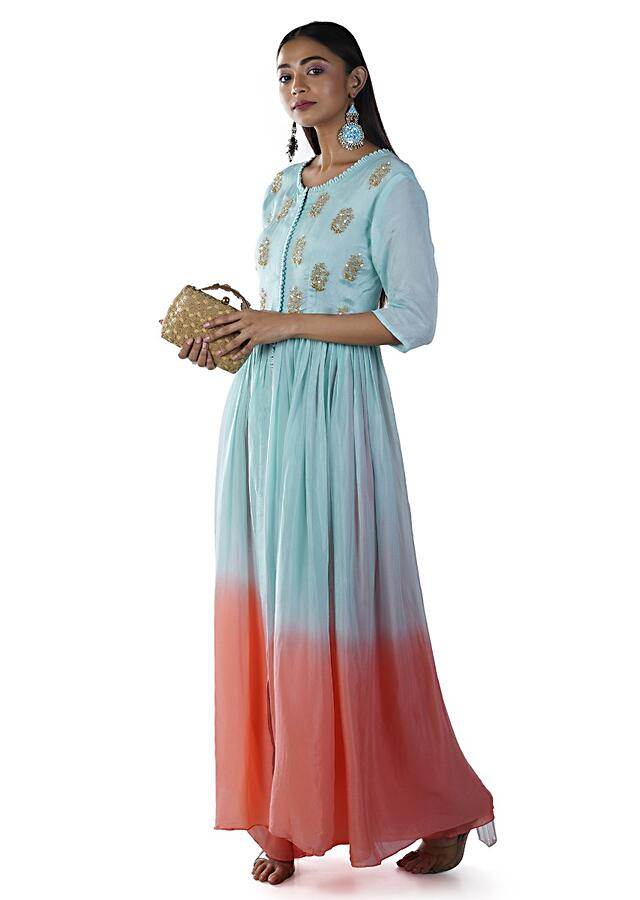 Pink And Blue Ombre Palazzo Set With An Embroidered Yoke Online - Kalki Fashion