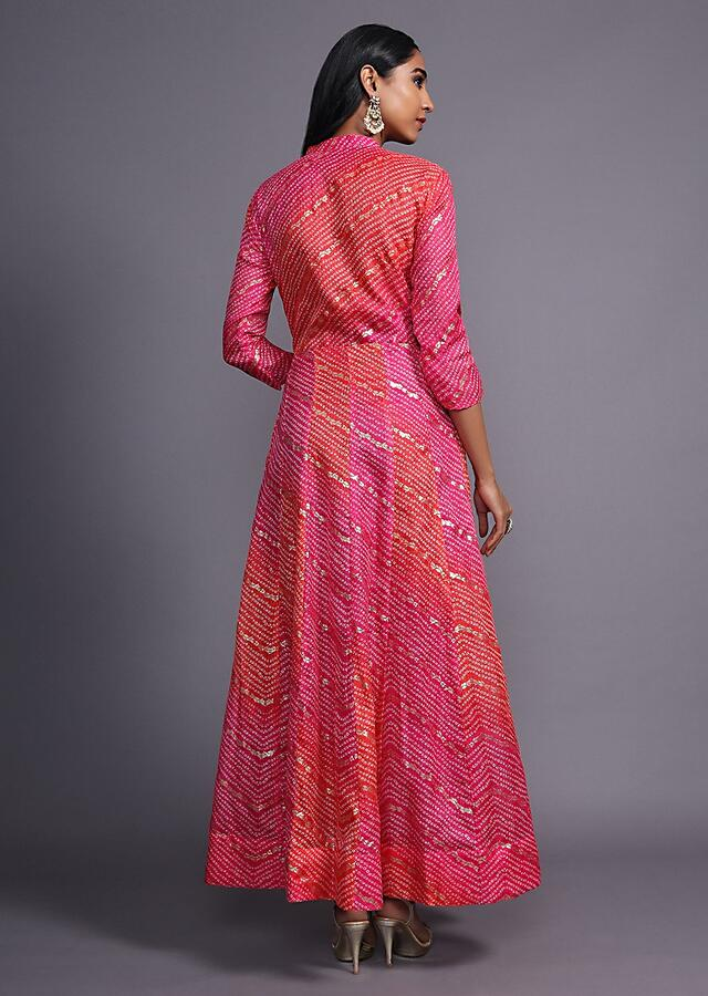 Pink And Coral Shaded Anarkali Dress With Bandhani And Foil Print In Chevron Pattern Online - Kalki Fashion