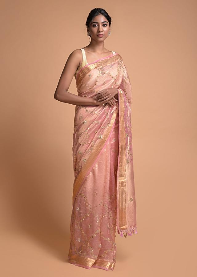 Pink And Gold Banarasi Saree In Silk With Gotta Patch Embroidery Online - Kalki Fashion